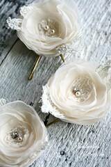 Bridal Hair Flowers (eab designs) Tags: flowers white hair champagne cream accessories bridal hairflower eabdesigns pemberleycollection