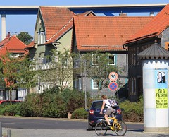 Viaduct on rooftop (:Linda:) Tags: street bike germany town highway funny ad thuringia viaduct column heinrichs litfasssule suhl suhlheinrichs zwerchhaus