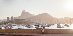 The Corcovado at Sunset, Rio (Scott Norsworthy) Tags: light sunset mountain rio statue brasil sailboat de harbor haze janeiro christ lagoon corcovado redeemer