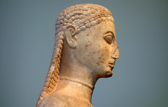 New York Kouros, detail of head (profile)