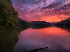 Fire Lake (Bill Fultz) Tags: sunset reflection kentucky sunsetreflection northernkentucky lakereflection kentuckysunset kentoncounty covingtonkentucky doerunlake doerunlakekentucky