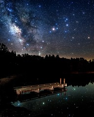 Starry Dock #nightsky (Sky Noir) Tags: sky lake nature water night reflections dark stars pier dock landing astronomy milkyway skynoir