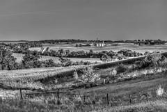 Iowa Landscape (nikons4me) Tags: blackandwhite bw field digital fence buildings corn farm grain iowa fields bins lateafternoon fujifilmfinepixs3pro poweshiekcounty nikonafnikkor50mmf18