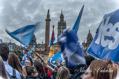 Scotland flying the flag . (Nicolas Valentin) Tags: blue party sky cloud clouds scotland glasgow georgesquare flags independance ecosse partypeople