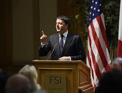 San Francisco (Stati Uniti). Il Presidente Renzi durante il suo intervento alla Stanford University (21/09/2014)