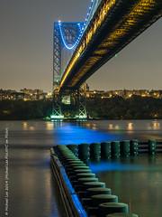 GWB East Tower (P9052891) (Michael.Lee.Pics.NYC) Tags: park bridge blue newyork reflection tower river george washington newjersey voigtlander east relection hudson interstate pilings nokton gwb palisades 425mm