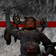 Red Faces (Seeing Visions) Tags: wood red sculpture japan square tokyo jp armor sword guardian yanaka 2014 spiritflame watercolortexture raymondfujioka