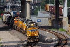 Westbound UP Manifest Train at Kansas City, MO (Mo-Pump) Tags: railroad train railfan railroader