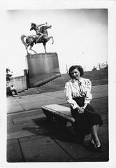 """Found Photo - """"The Bowman & The Spearman"""" Sculpture  - Chicago (Mark 2400) Tags: sculpture chicago found photo michigan congress avenue bowman spearman"""