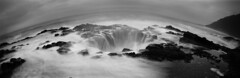 Unconvential means of doing conventional things (Zeb Andrews) Tags: realitysosubtle141 pinhole lensless oregon oregoncoast pacificnorthwest thorswell blackwhite monochrome landscape pacificocean advice filmphotography pano panorama longexposure ocean surf waves cookschasm