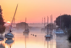 Sunrise on the Frome (289RAW) Tags: 289raw misty mist sunrise river frome dorset landscape wareham reflections
