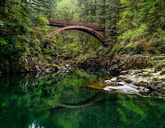 Moulton Falls Park in April (EeBeeGeeBee) Tags: lewisriver washington green bridge trail moulton park
