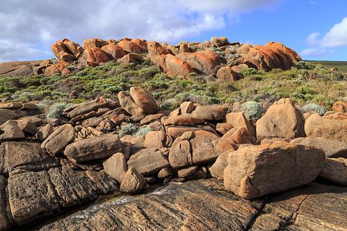 Pink rock outcrop