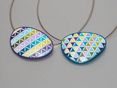 Pendants Triangle Pattern (ST-Art-Clay) Tags: polymer clay silkscreen