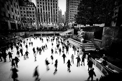 Skating at 30 Rock (DHaug) Tags: 30rock december 2015 skaing rockefellerplaza midtown manhattan nyc newyork blackandwhite monochrome xt1 xf1024mmf4rois fujifilm w49thstreet