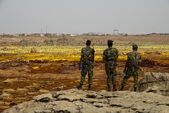 Survey-lands (hugemittons) Tags: ethiopia africa hornofafrica danakil dallol afar afarzone colorful colourful martian surreal african ethiopian soldier soldiers army defence military guard infantry security depression