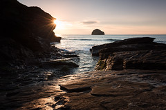 Trebarwith Sunburst (~g@ry~ (clevedon-clarks)) Tags: beach channel coast cornwall dreamy dusk england exposure gull landscape long ocean outdoor rock rugged scenic sea seascape seaside serene shore south strand sunset trebarwith uk water west