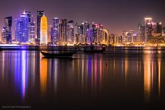 CITY LIGHTS (Ziad Hunesh) Tags: zhunesh canon 650d 1855mm longexposure towers sea qatar doha city cityscape night lights
