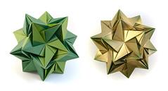 Optimum #kusudama #origami (_Ekaterina) Tags: tant green gold paper paperfolding kusudama unitorigami modularorigami ekaterinalukasheva