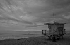Tower 2, Surfrider Beach (blueteeth) Tags: lifeguardtower malibu clouds overcast beach coast ocean pacific storm surfers