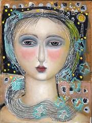 """TALKING TO THE MOON"" (kitty jujube) Tags: art mixedmedia acrylicpaint folk face woman modern moon sandifitzgerald kittyjujube"