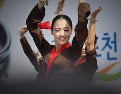 Korean Folk Dancers (Robert Borden) Tags: outdoors dancers folk asia southkorea korea seoul seoulplaza woman portrait canon smile art people