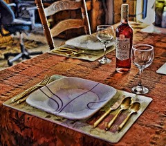 Place Settings-Van Gogh Style (Good Morning Everyone :)) Tags: table thanksgiving placesettings vangogh fall colours gold white black mats wine malbec argentina winde rose diningroom forks knives spoons plates designs glasses bottle