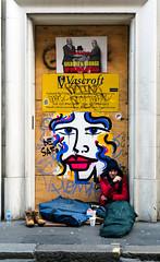 Be Safe (stevedexteruk) Tags: homeless poverty streets beakstreet london uk 2016 art graffiti face lips eye endless vascroft gilbert george door doorway kerb pavement anna laurini