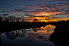 Sunset on the Nene (scarbrog) Tags: refelection sunset rivernene miltonferry silhouette clouds