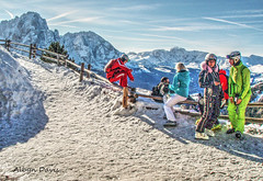 rest (albyn.davis) Tags: skiing italy mountains dolomites dolomiti ski colors bright vivid vibrant blue red snow winter weather vacation travel path trail fence