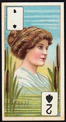 Cigarette Card - 2 of Spades (cigcardpix) Tags: cigarettecards advertising ephemera vintage beauty playingcard