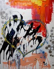 """Tavla """"All for love"""" 💚 (Magnus Dacke) Tags: magnus dacke 2016 tavla painting målning mad madart akryl acrylic art konst abstrakt abstract heart hjärta kärlek love color färg silver sweden sverige hässleholm"""