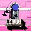 Fate luce (meghimeg) Tags: 2016 lavagna lamp lampione balcone facciata facade colori colors ombra shadow sole sun rosa pink azzurro blue blu balcony