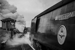 Santa and the Dorsetman (grahamhutton) Tags: 34070 manston 34070manston m7 30053 m730053 sr br steam train smoke railways harmanscross thedorsetman santa santaspecial signalbox signal platform blackwhite swanagerailway battleofbritain bullied oliverbullied heritage sony24mmf18za sonya6000 zeiss 24mm