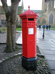 Durham - old post box near Cathedral (rossendale2016) Tags: wow durham cathedral box post red gpo old victorian antique penfold replica dh1 359 palace green city pillar unusual photogenic picturesque past relic fashioned time step back public postman collected collection times notice card date dates letter parcel stamps foot van college university castle wiad quadrangle near police station cute reminder five sided angular shape polygon pentagon tree trunk pavement ancient cast iron foundry made saturday bollard traffic pedestrian access flags flagstones slipy slippery uneven