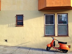 Postcard from SF (misterbigidea) Tags: sf sanfrancisco street city travel urban orange bike landscape mod vespa view scenic scooter explore sidewalk commuter parked zoomzoom scoot partking uploaded:by=flickrmobile flickriosapp:filter=nofilter