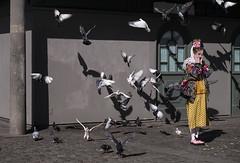 Pigeon attack (Olderhvit) Tags: street color girl lumix sweden pigeons gothenburg streetphotography panasonic streetphoto goteborg 2014 gatufoto gx1 gatufotografi framingthestreet p1100084 olderhvit dmcgx1