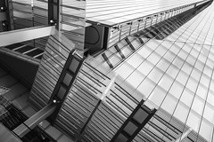 Dynamic Lines On The Shard M (Mabry Campbell) Tags: uk greatbritain windows england blackandwhite bw detail building london glass monochrome up vertical architecture floors facade skyscraper photography photo europe image unitedkingdom britain january fav20 capitol photograph 100 40mm fav30 shard renzopiano levels southwark fineartphotography f40 architecturalphotography capitolcity commercialphotography fav10 ef1740mmf4lusm 2013 architecturephotography theshard fineartphotographer houstonphotographer ¹⁄₃₂₀sec 32londonbridgestreet mabrycampbell january42013 201301042065