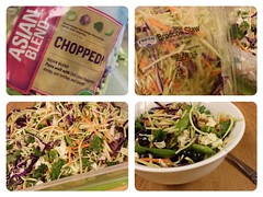 My favorite salad of the moment:  1 pkg Asian Blend, Chopped 1 pkg Broccoli Slaw Mix well and store in an air tight container. When I'm ready to make one up, I'll add the following. .. 1-2 c salad mix 1 serving of fresh fruit (blueberries, strawberries or (MDawny72) Tags: food recipe salad healthy yum foodie