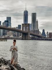 What is She Upto? (Janas59) Tags: girl night model robe brooklynbridge