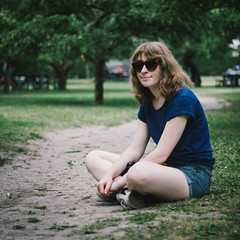 Orchard (parasomnist) Tags: city summer vacation portrait holiday nature girl sunglasses outdoors island sweden stockholm orchard portra