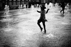 Rhythm of youth (snowpine) Tags: street people blackandwhite bw playing london water fountain youth fun blackwhite dancing candid streetphotography younggirl somersetplace