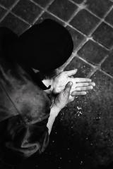 (Patrick chauvet) Tags: life street bw art vertical contrast canon blackwhite solitude noir expression femme religion style nb ombre professional passion concept rue mains blanc srie personne homme vie seul ambiance introspection oubli lgende humain mditation rflexion scne motion