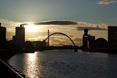 28-2 Sunset over Glasgow (DaveeU) Tags: bridge sunset water silhouette canon reflections river 50mm evening clyde glasgow dslr blueandorange 550d