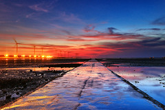 the road to burning sky (Thunderbolt_TW) Tags: sunset sea sky sun reflection water windmill canon landscape taiwan explore     hy windturbine bai  changhua   explored     hsienhsi   fave100 changpingindustryarea hybai