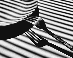 Inspired: Fork and Plate (John Westrock) Tags: blackandwhite stilllife lines contrast shadows plate fork canoneos5dmarkiii sigma35mmf14dghsmart johnwestrock