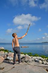 Sunny September (Basse911) Tags: sea water clouds suomi finland island fire bluesky balticsea september hanko nordic ostsee itmeri archipelago stersjn holme skrgrd saari  saaristo syyskuu hang bolaxren