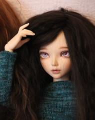 Wig MNF (Ektou) Tags: brown alpaca me by dark dress handmade wig jersey bjd wavy fairyland mnf alpaga