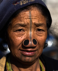 Back to Ziro (rob of rochdale) Tags: woman tattoo tribal tradition tribe custon arunachalpradesh northeastindia ziro apatani noseplugs robhaich
