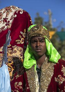 Ethiopian Orthodox Priest Celebrating The Colorful Timkat Epiphany Festival, Lalibela, Ethiopia